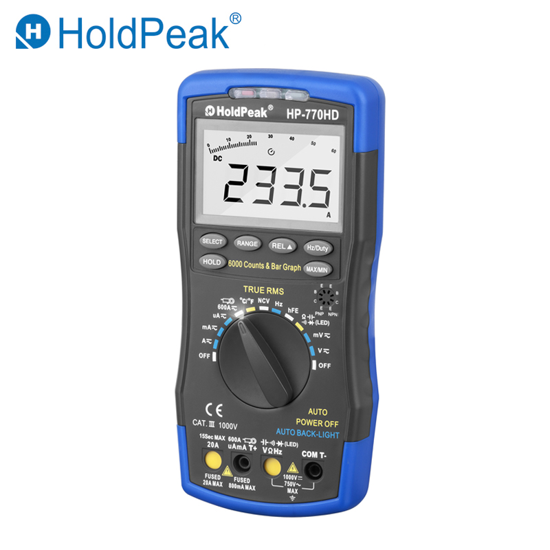 HoldPeak HP-770HD Autorange Digital Multimeter True RMS AC/DC Voltage Frequency Electrical Tools Tester HFE NCV Mulitmetro