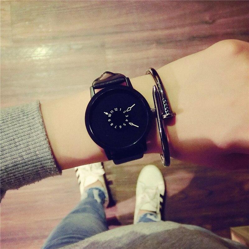 Hot Fashion Creative Watches Women Men Quartz-watch 2017 Brand Unique Dial Design Lovers' Watch Leather Wristwatches Clock fashion minimalist men women watch creative double dial rectangular quartz leather ladies bracelet clock couple wristwatches
