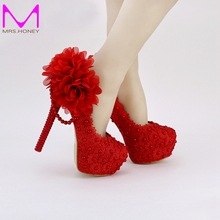 Red Lace Applique Evening Dress Shoes Sapatos Femininos Valentine Women High Heels Bridal Wedding Party Shoes Plus Size