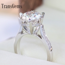 3 Carat ct Halo&Brilliant Engagement Wedding Lab Grown Moissanite Diamond Ring Diamond Accents Genuine 14k 585 White Gold