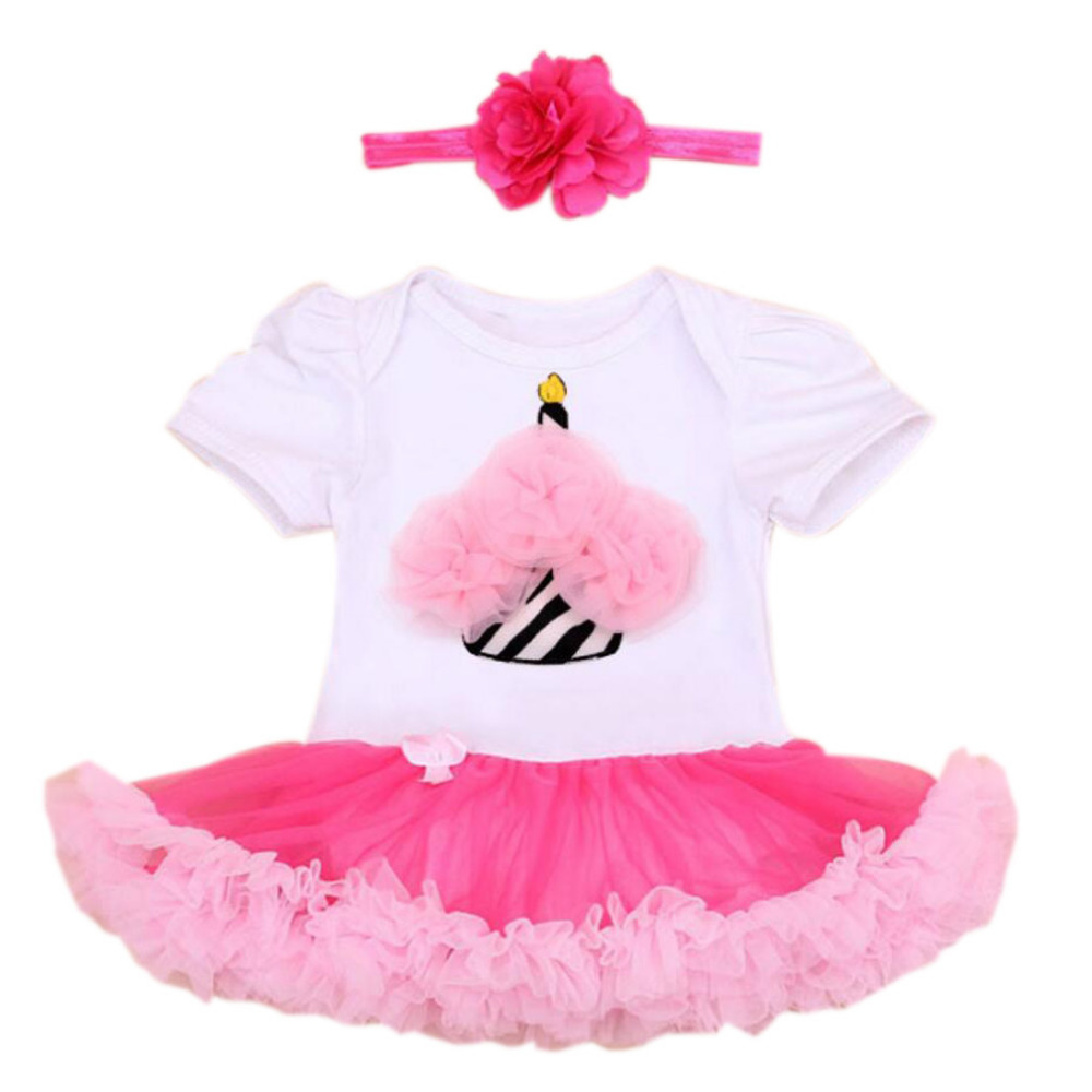 Baby Girls 2PCs per Set Infant 1st 2nd Birthday Party White Hot Pink ...