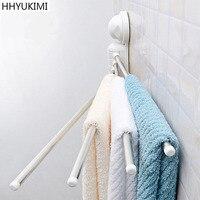 HHYUKIMI Vacuum Rotary Suction Cup Hanging Frame Bathroom kitchen Accessories Organizer Stainless Steel Towel Storage Shelf