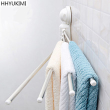 HHYUKIMI Vacuum Rotary Suction Cup Hanging Frame Bathroom kitchen Accessories Organizer Stainless Steel Towel Storage Shelf