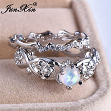 JUNXIN Real Zircon White/Green/Blue Fire Opal Ring Sets 925 Sterling Silver Filled Round Birthstone Double Wave Flower Ring Gift(China)