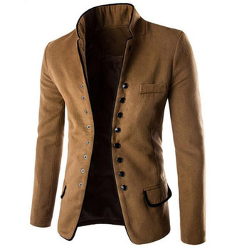 Stand Collar Coat Slim Fit Suit Button Jacket Overcoat Blazers