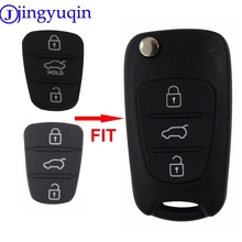 jingyuqin New Replacement Rubber Pad 3 Buttons Flip Car Remote Key Shell For Hyundai I30 IX35 Kia K2 K5 Key Cover Case