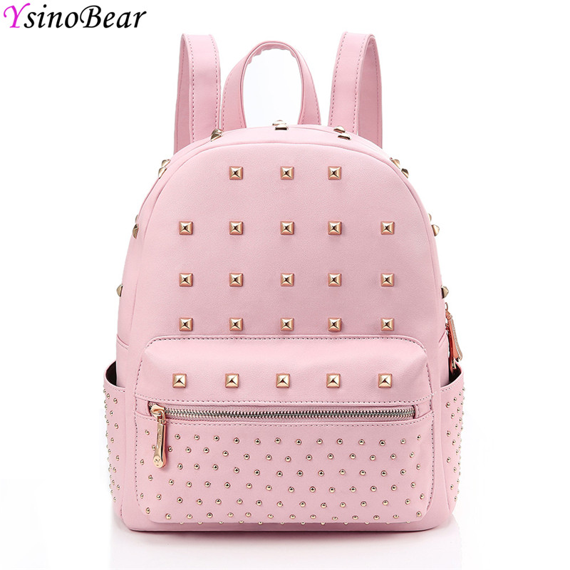 YsinoBear Pink Rivets Women Backpack Small Mini PU Leather Backpack Simple Fashion School Bag Travel Women Back Pack for Girls women backpack black red fashion style school daypacks funny quality pu leather small shoulder bag teenage girl travel back pack