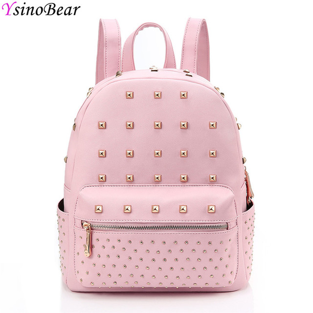 d93d7ea35d8 YsinoBear Pink Rivets Women Backpack Small Mini PU Leather Backpack Simple  Fashion School Bag Travel Women Back Pack for Girls
