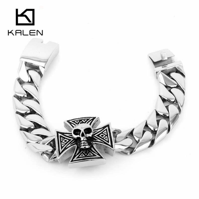 Kalen Punk Cool Jewelry 316L Stainless Steel Skull And Cross Bracelets Heavy And Chunky Viking Skull Bracelets For Men 220mm trustylan cool stainless steel dragon grain bracelets men new arrival punk rock keel mens bracelets