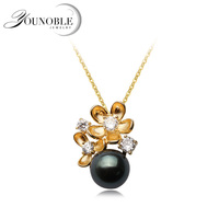 Real 925 Silver Pendant With Tahiti Pearl Women, Wedding Colorful Black Natural Pearl Necklace Anniversary Gift