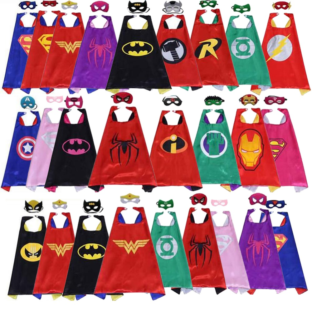 classic kids superhero capes with masks double layers batman cape for children birthday party