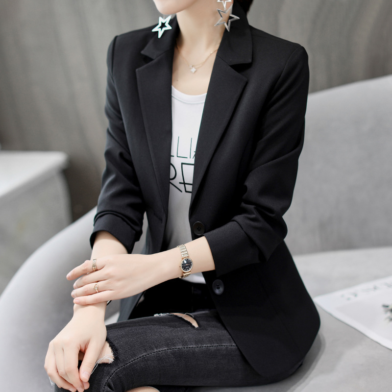 Formal Office Lady Blazers Women Black White Slim Fit Long Sleeve Suit Jacket Autumn Winter Coat Fashion Casual Suits Woman Top