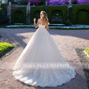 Image 2 - Vestido de novia Liyuke, vestido de boda, vestido de novia, diseño de Apliques de encaje, cuello redondo, mangas, personalización gratuita, envío
