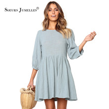Sweet Summer Dress Women Ruffles 2019 Pink Mini Loose Casual Ball Gown Vestidos Holiday Blue Beach Elegant Thin Brand Sundress(China)