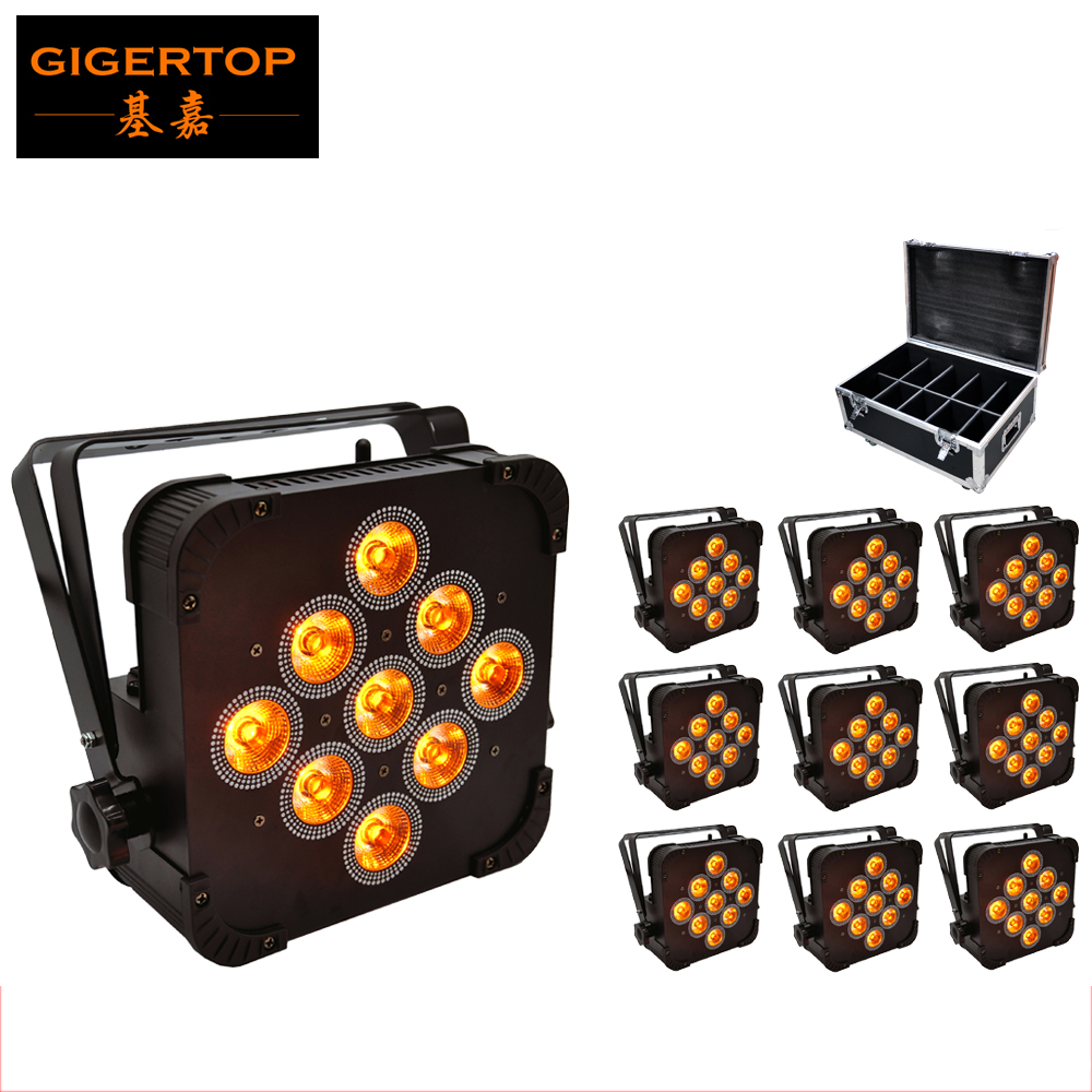 Flightcase 10in1 Packing 9*15W 5IN1 RGBWA Wireless Led Lights,Stage DMX512 Led Par,Remote Control Uplighter/ Wedding Decoration freeshipping 10in1 charging flightcase packing 12 18w stage wireless battery flat led par light rgbaw uv 6in1 uplighting par can