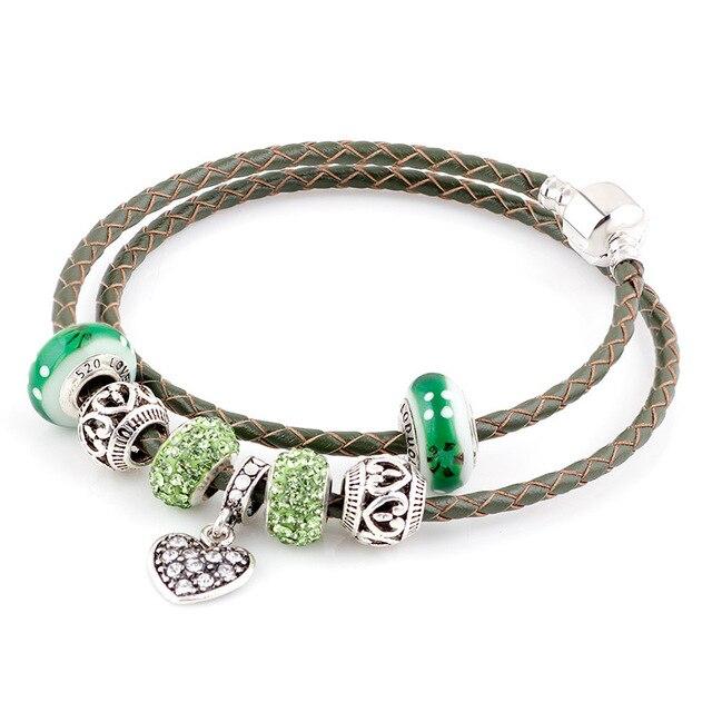 Lato w stylu zielony prawdziwej skóry bransoletka łańcuch nadające się do Charms bransoletki DIY stop metali szkła europejski Big Hole koraliki