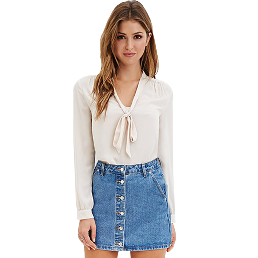 0a7a6a9686c7 Tie Up Dressy Women Blouses V Neck Black Chiffon Blouse Long Sleeve Shirt  Women Tops Blue Ladies Office Shirt Spring 2016-in Blouses & Shirts from  Women's ...