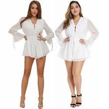summer new elegant playsuits feminino xxxxl v-neck collar long big sleeve full of dots pink white chiffon bodysuits girl 81821