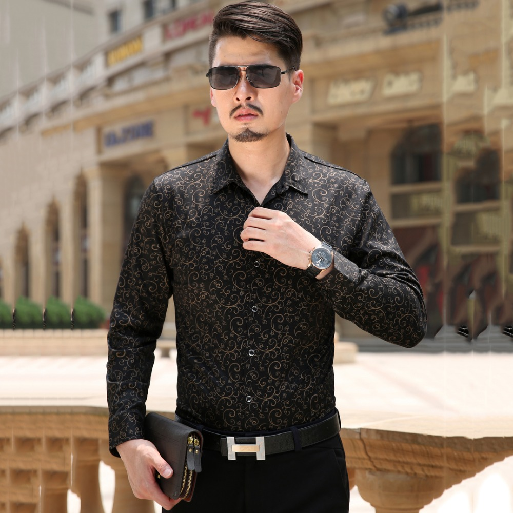 Long sleeve mens black dress shirts