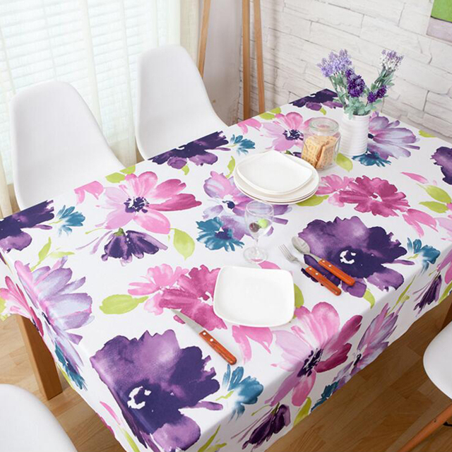 Yazi Pastoral Waterproof Tablecloth Purple Floral Table Cover Elegant Home  Party Wedding Decoration