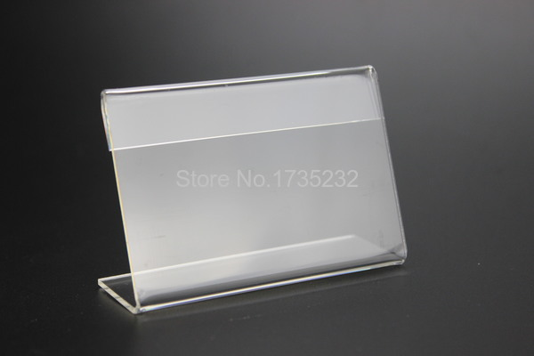 Hearty Acrylic T 1.3mm Clear Plastic Desk Sign Label Frame Price Tag Display Paper Card Holders Acrylic Label Holder Stand Frame 50pcs Desk Accessories & Organizer Office & School Supplies