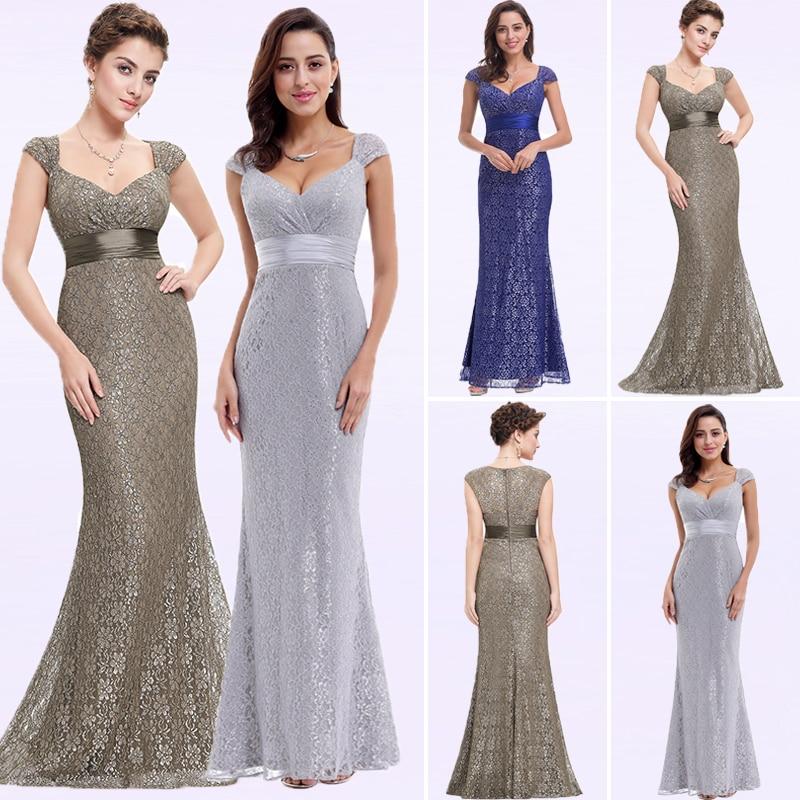 Grey Lace Mermaid Evening Dresses 2019 Ever Pretty Sparkle V Neckline Elegant Peach Collar Long Evening Party Dress Robe Longue