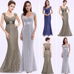 Vestidos de Noche de sirena de encaje gris 2020 Ever Pretty Sparkle escote en V elegante con cuello de melocotón largo vestido de fiesta de noche robe longue