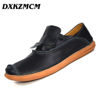DXKZMCM Genuine Leather Men Loafers Comfortable Men Casual Shoes High Quality Handmade Fashion Men Shoes