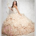 2016 Sweetheart Organza Champagne Quinceanera Dresses Beading Cheap 15 Dresses Sweet 16 Dresses Ball Gowns Vestidos Debutantes