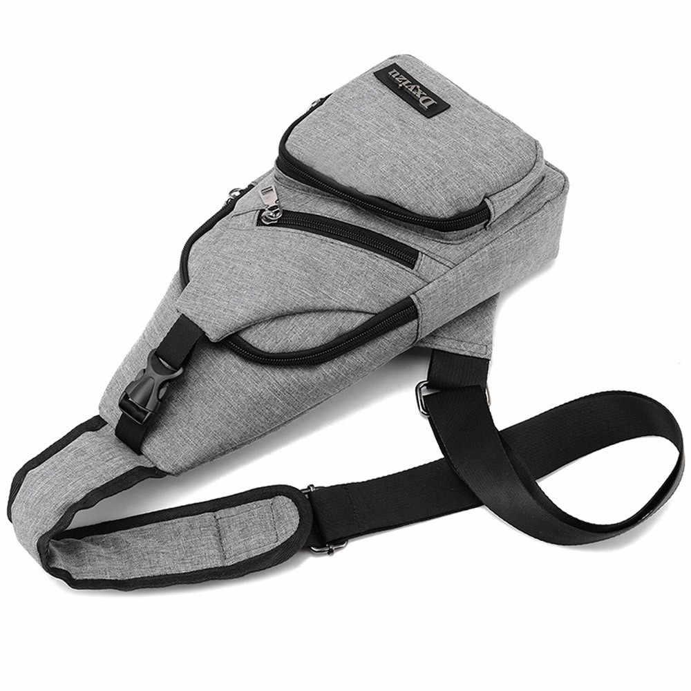USB Kanvas Dada Tas Unisex Tas Boston Fashion Pria Travel Polyester Sling Bag Dada Pack Crossbody Casing dengan USB pengisian 2019