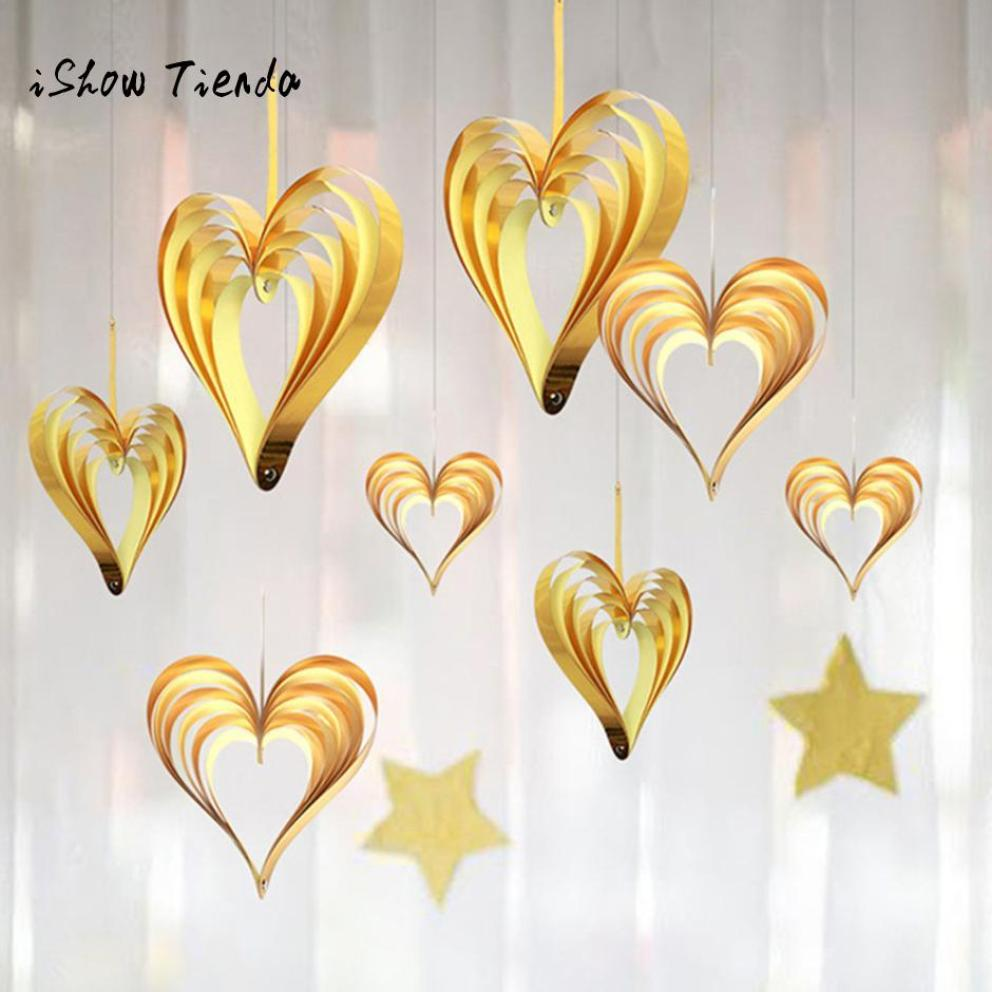 4pcs Cardboard fold Heart Shaped Hanging Ornaments Banner Garland Birthday Romatic Wedding Door Supplies Event Party Home Decor