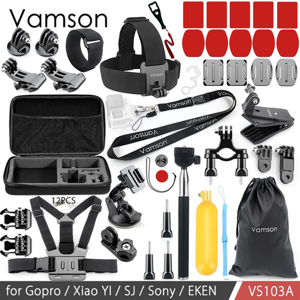 Vamson Action Camera Accessories Kit Neck Strap Tripod Monopod For Gopro hero 6 5 4 3 For SJCAM SJ4000 for Xiaomi yi VS103A цена