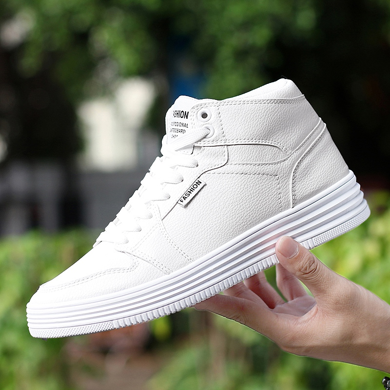 New Fashion Unisex High Top Casual Shoes For Men PU Leather Lace Up White Black Color Mens High Top Shoes 2017 spring brand new fashion pu stretch fabric men casual shoes high quality men casual shoes lace up casual shoes men 1709