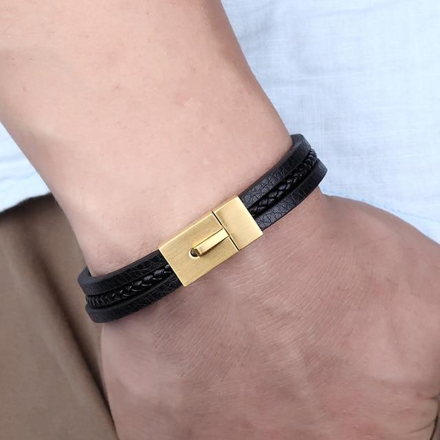 Женский многослойный браслет janeyacy черный кожаный в европейском