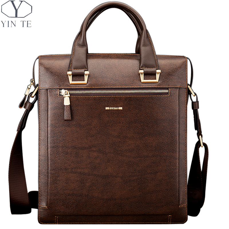 YINTE Leather Men's Briefcase Fashion Leather Handbag Brown Bag Formal Totes Men Business Messenger Shoulder Bags Totes T8277-4 dtbg pu leather women handbag fashion european and american style totes messenger bag original design briefcase zipper 2017