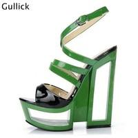 Fretwork Heels Fashion Shoes Green Sandals Woman Platform Heels Cool 16cm Square Heel Cut Outs Ankle Buckles Peep Toe High Heels