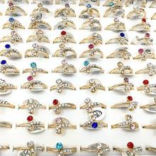 10pcs Wholesale Jewelry Lots Fashion Mixed Colorful Rhinestone Finger Rings Band Women Female Girls Gift