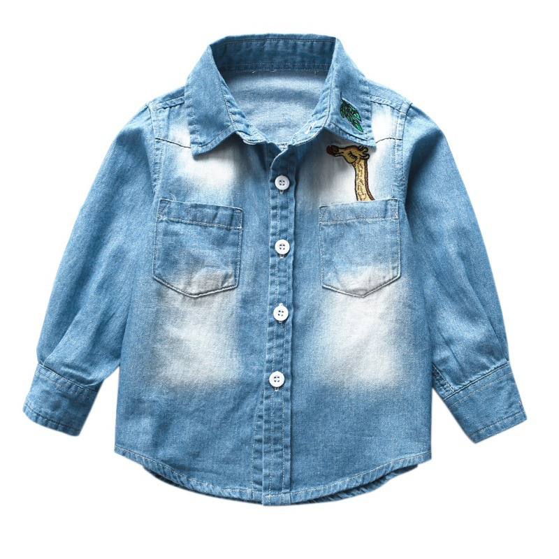 Denim Shirt Top For Girls Boys Children Cotton Shirts Totter Long Sleeved Kids Shirt Outwear Рубашка