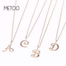 METOO A-Z Letters Choker Necklace for Girl Women Rose Gold Copper Necklaces Kids Pendant Boho Statement Necklace Collier Femme(China)