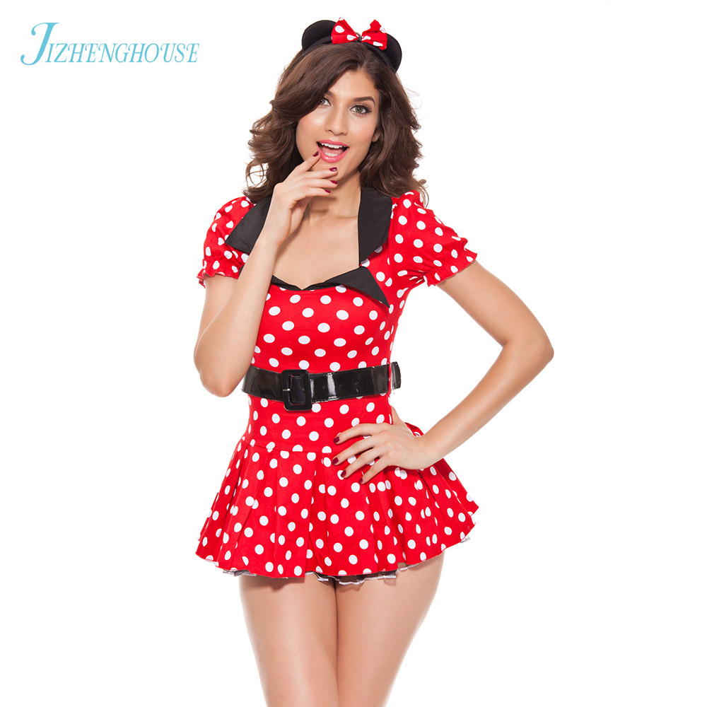 JIZHENGHOUSE Red Mouse Polka Dots Short Sleeve Dress Cosplay Costume For Halloween