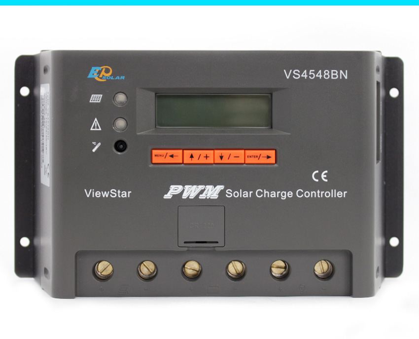 Controller PWM 45A 45amp 12v 24v 36v 48v automatic work solar charging regulator EPEVER EPSolar VS4548BN vs4548bn 45a 24 48v auto pwm controller network access computer control can connect with mt50 for communication