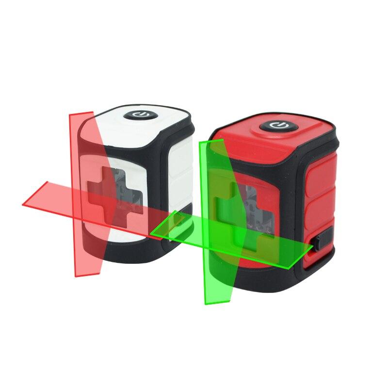 Мини лазер 2 Красные линии лазерный уровень горизонтальный и вертикальный самонивелирующийся 360 перекрестная линия может использоваться с