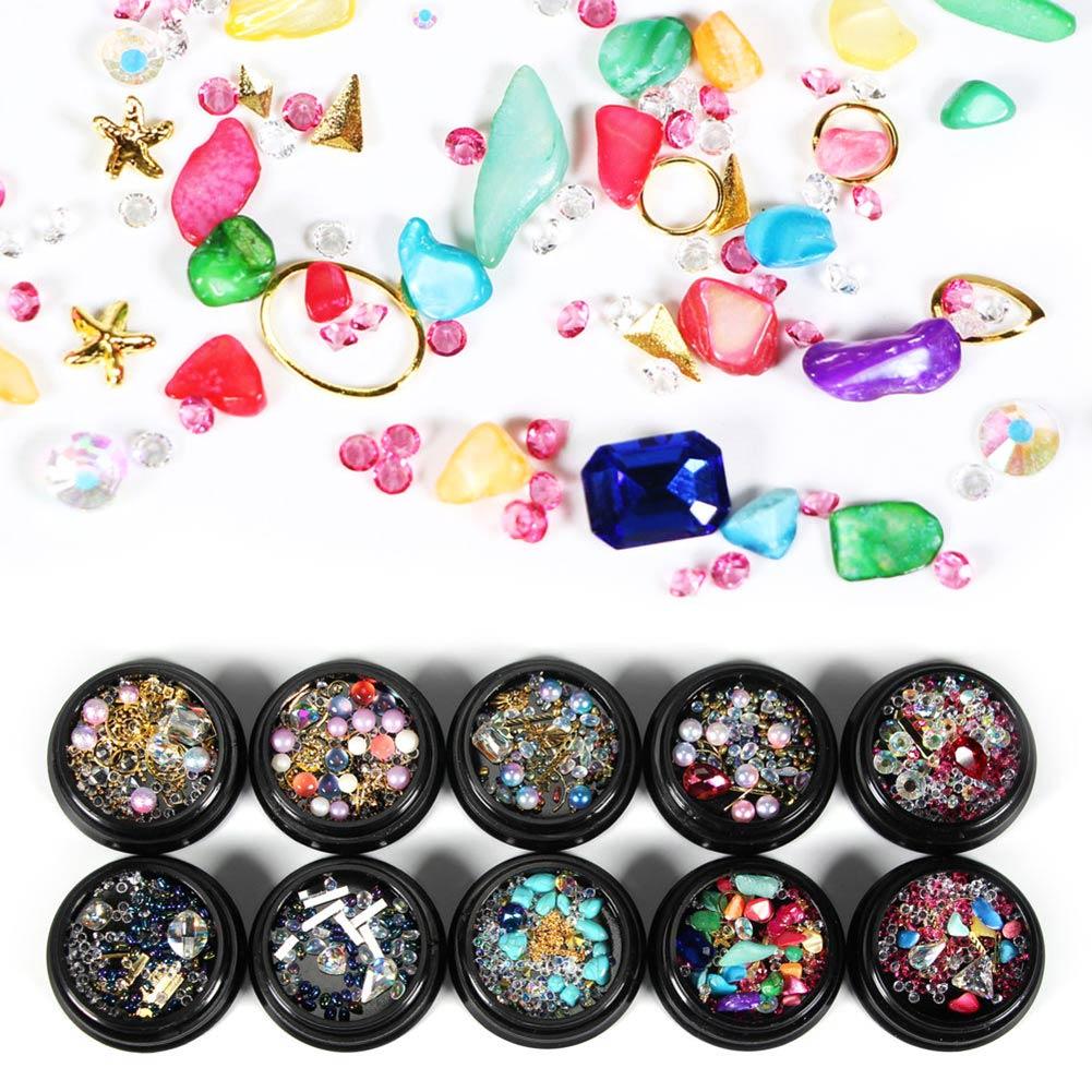 Nail Art Decoration Rhinestone Crystal Gem Tips Metal Acrylic Pearl Pebbles Accessories HS11 pearl