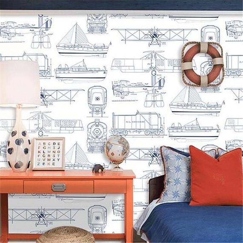 Beibehang style européen simple chambre d'enfants non-tissé papier peint garçon fille chambre avion dessin animé papier peint 3d plancher