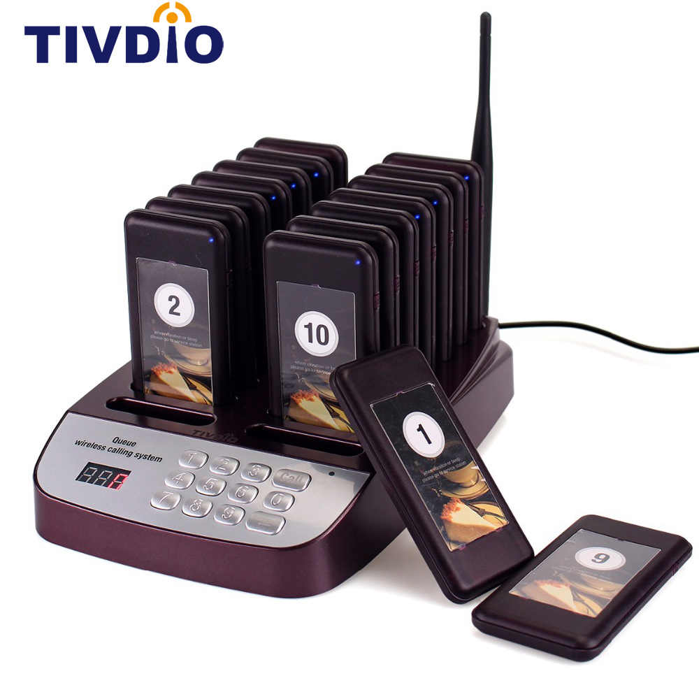 TIVDIO T-113 Restaurant Pager Wireless Paging Queuing System 16 Call Coaster Pagers 999 Channel Restaurant Equipments F9403D tivdio wireless restaurant pager guest paging queuing system 1 transmitter 20 chargeable pagers restaurants equipments f9401a