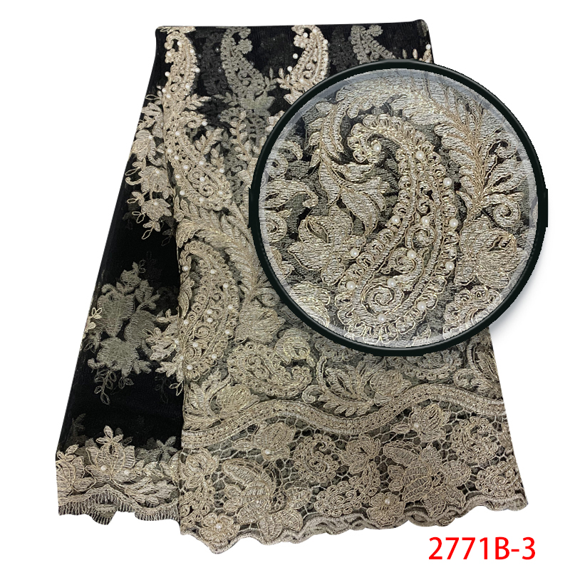 African Tulle Lace Fabric Latest,French Net Lace Fabric With Beads, High Quality Nigerian Embroidery Laces For Dresses KS2771B-3