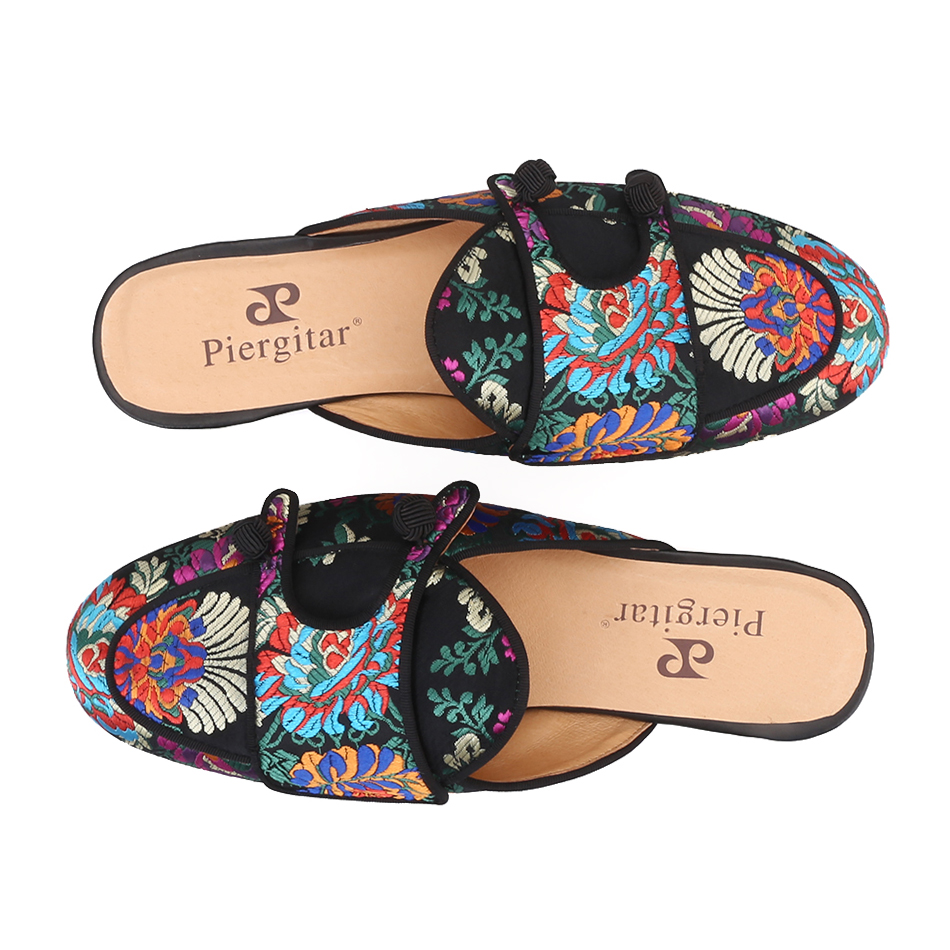 Piergitar 2019 New flower pattern men silk mules for parties and banquet handmade men's slippers leather insole plus size