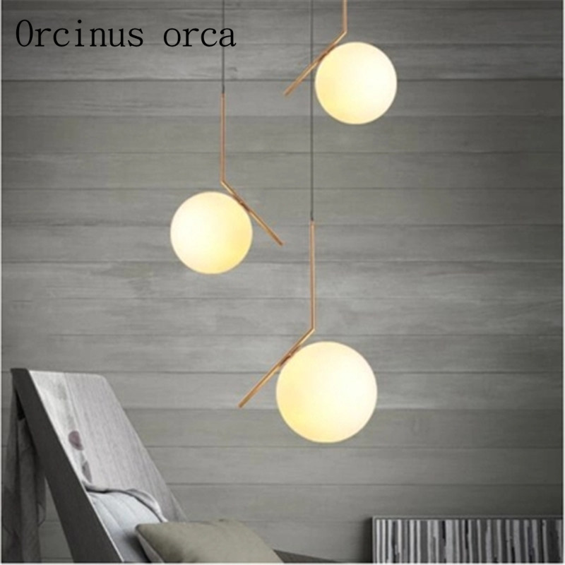 Modern style dining room chandelier Nordic minimalist bedroom glass single head decorative ChandelierModern style dining room chandelier Nordic minimalist bedroom glass single head decorative Chandelier