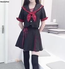 2019 korean school uniform girls navy sailor suit for women japanese school uniform clothes cotton black shirt + skirt цена 2017
