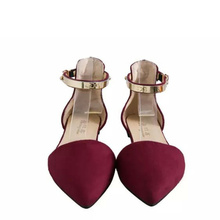 Sexy Women Buckle Strap Low Heels Pumps Spring Autumn Pointed Toe Flock D'Orsay